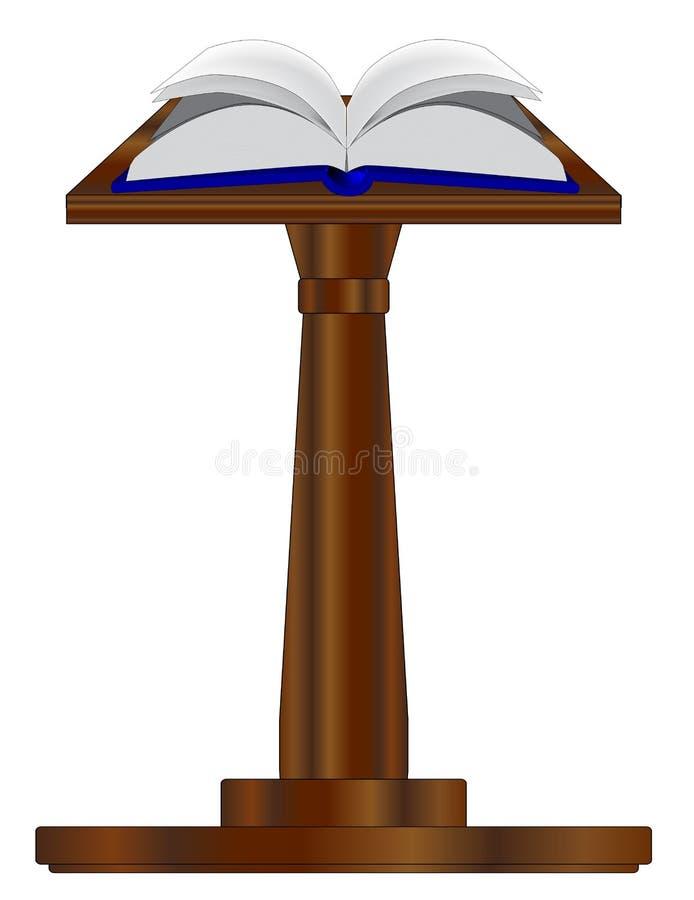 Öppna boken på podiet stock illustrationer