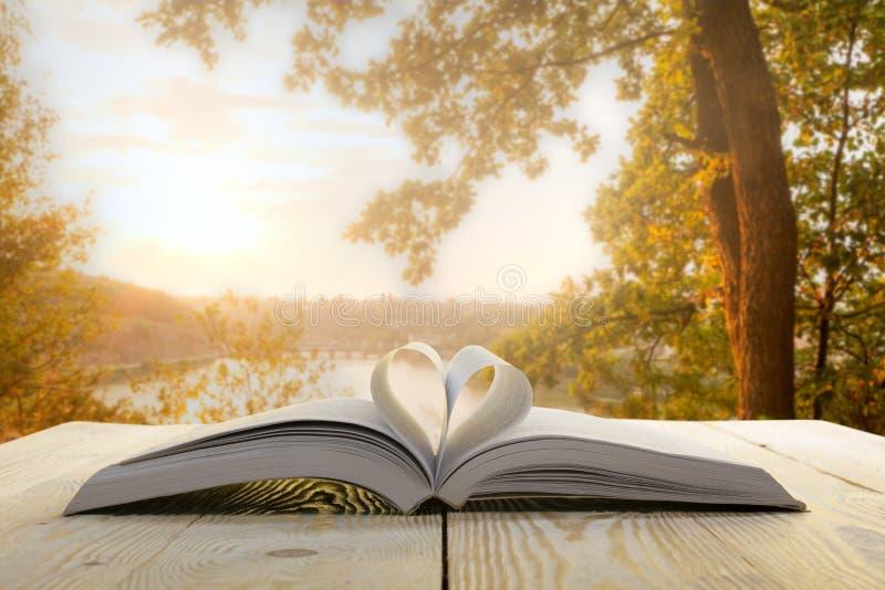 Öppna boken på trätabellen på naturlig suddig bakgrund Hjärtaboksida tillbaka skola till kopiera avstånd royaltyfri bild