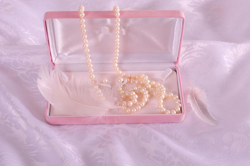 Öppna box med pärlor och fjädrar royaltyfri foto