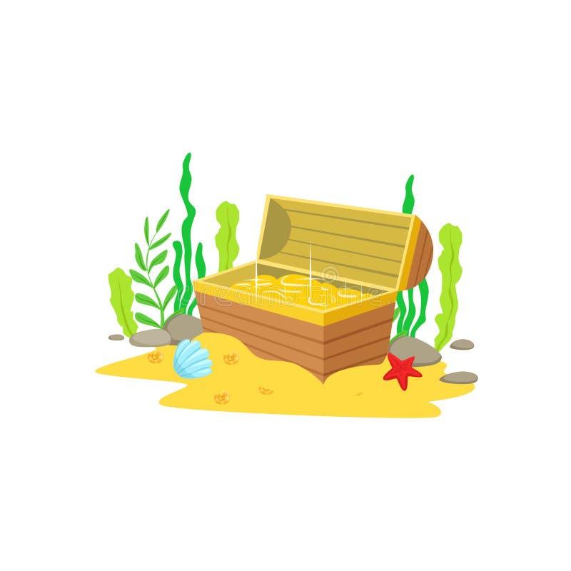 Öppna bröstkorgen med den guld- skatten inom att lägga på de Sandy Sea Floor Surrounded By algerna och den undervattens- Marine A royaltyfri illustrationer