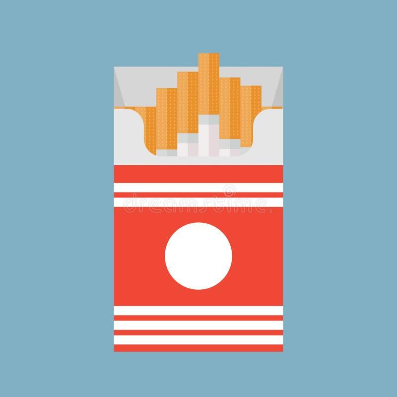 Öppna cigaretter packar illustrationen för vektorn för asklägenhetstil som isoleras på en bakgrund, royaltyfri illustrationer