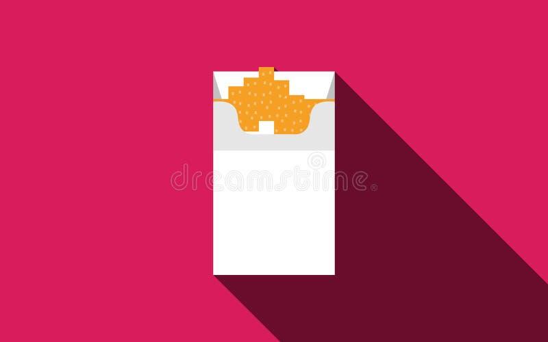 Öppna cigaretter packar illustrationen för vit för asklägenhetstil stock illustrationer