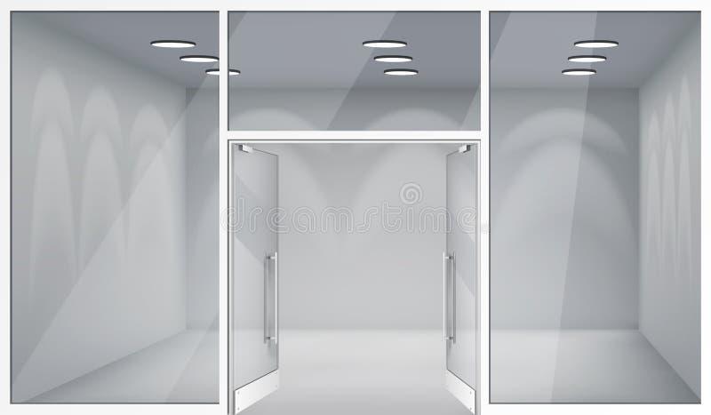 Öppna dörrar 3d shoppar för fönsterutrymme för det tomma inre främre lagret den realistiska illustrationen för vektorn för bakgru royaltyfri illustrationer