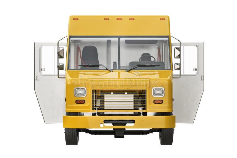 Öppna dörrar för matlastbileatery, främre sikt vektor illustrationer
