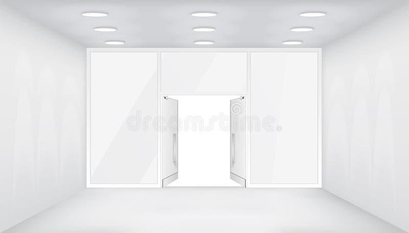 Öppna dörrar lagrar inre 3d shoppar för fönsterutrymme för tomt utrymme den ljusa realistiska vektorn för bakgrund för modellen f vektor illustrationer