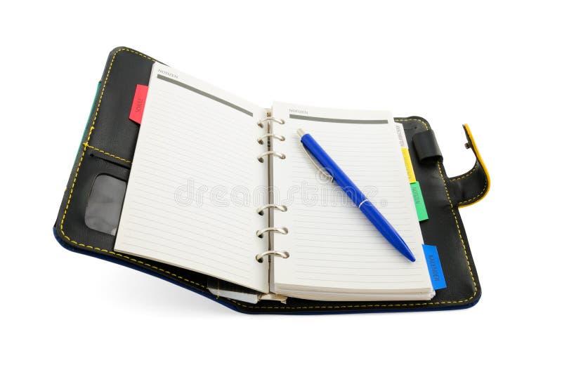 Öppna dagboken som isoleras på vit bakgrund fotografering för bildbyråer