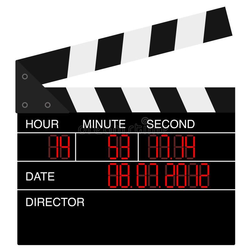 Öppna den digitala filmclapboarden stock illustrationer