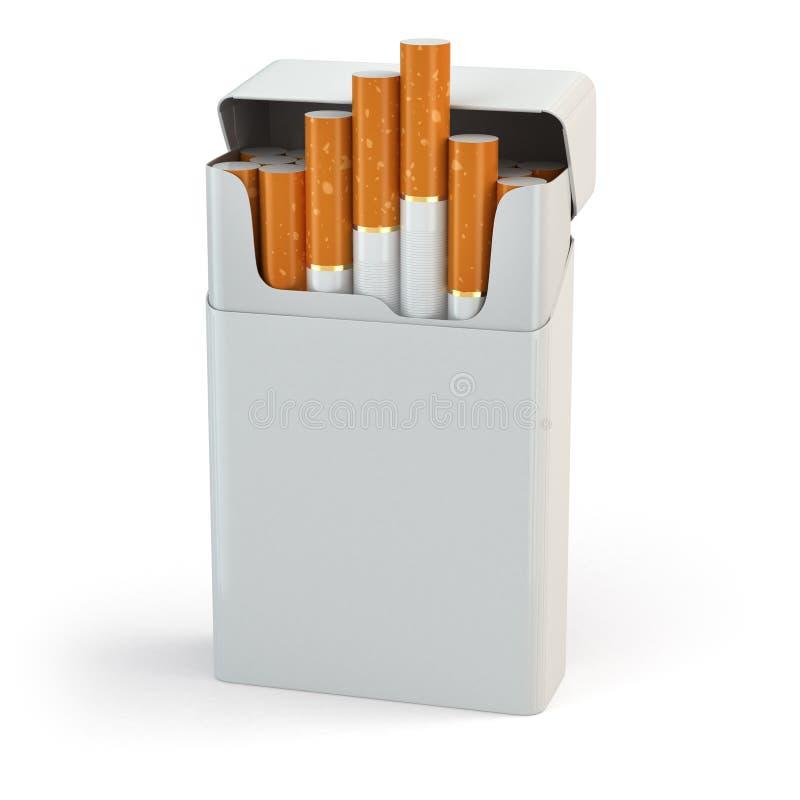 Öppna den fulla packen av cigaretter på vit bakgrund stock illustrationer