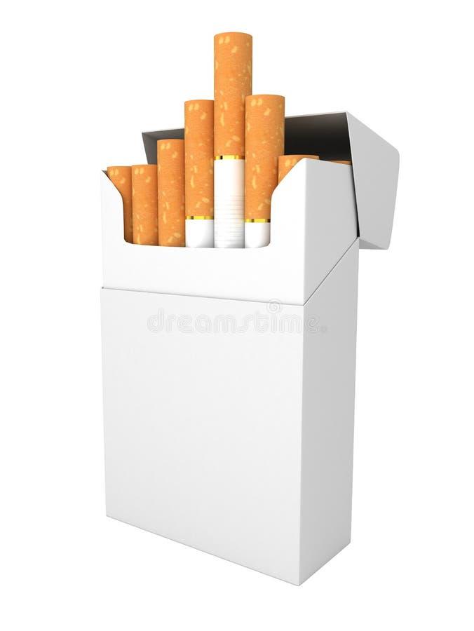 Öppna den fulla packen av isolerade cigaretter royaltyfri illustrationer