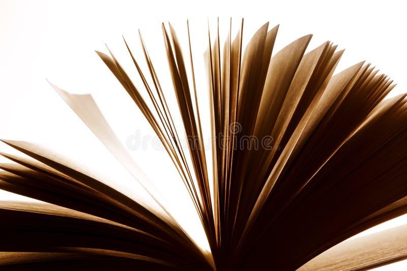 Öppna den gamla boken, att fladdra för sidor Fantasi fantasi, utbildning arkivfoton