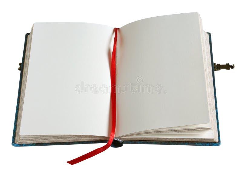 Öppna den gamla retro boken med tomma sidor, slösa räknings- och metallclas royaltyfri bild