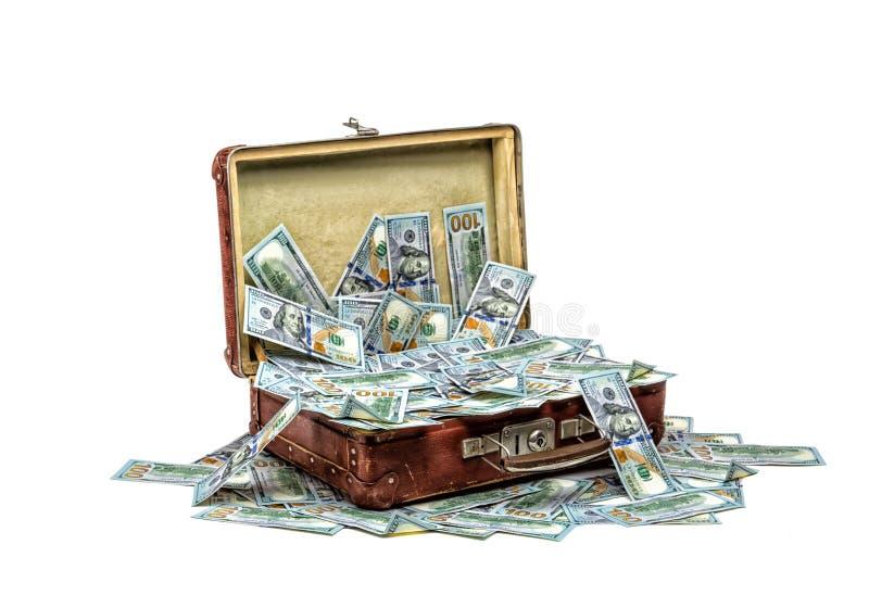 Öppna den gamla tappningresväskan mycket av pengar, affärsidé arkivfoton