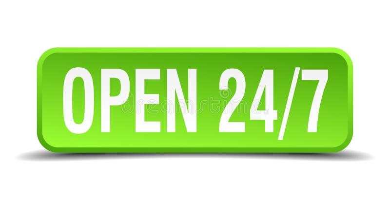 Öppna 24 den gröna realistiska fyrkanten isolerade knapp 7 stock illustrationer