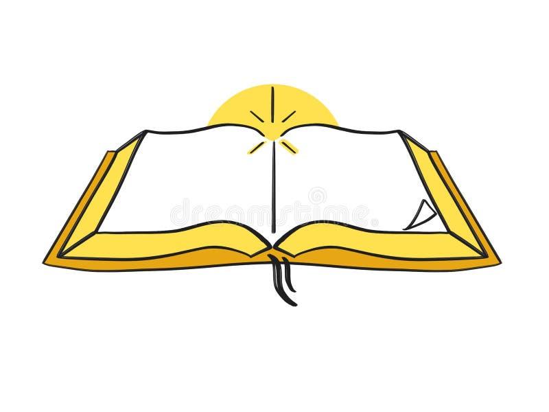 Öppna den heliga bibeln Logo Design Illustration royaltyfri illustrationer