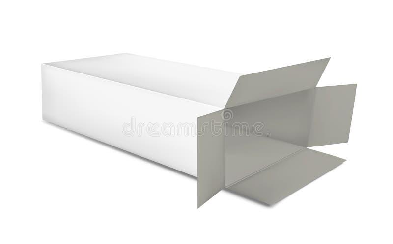 Öppna den pappers- asken på vit bakgrund stock illustrationer