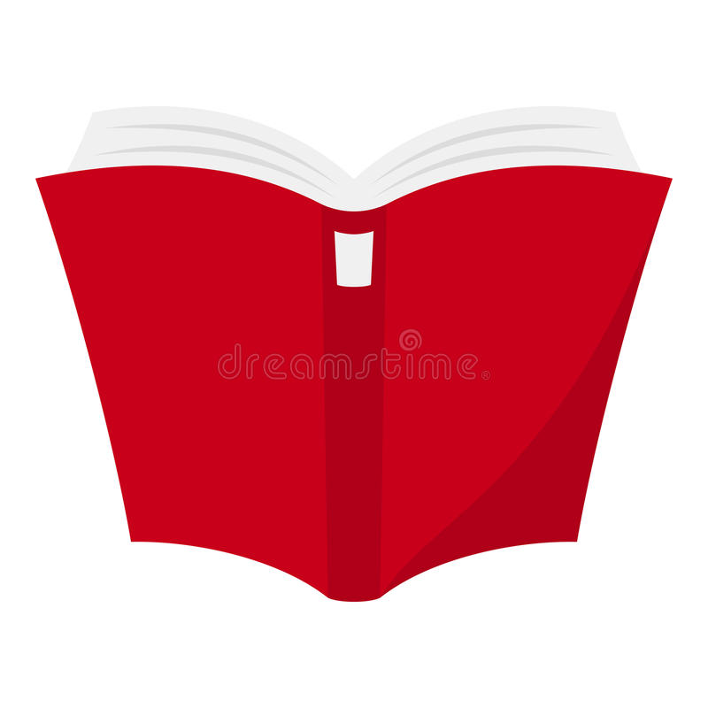 Öppna den röda boklägenhetsymbolen som isoleras på vit royaltyfri illustrationer