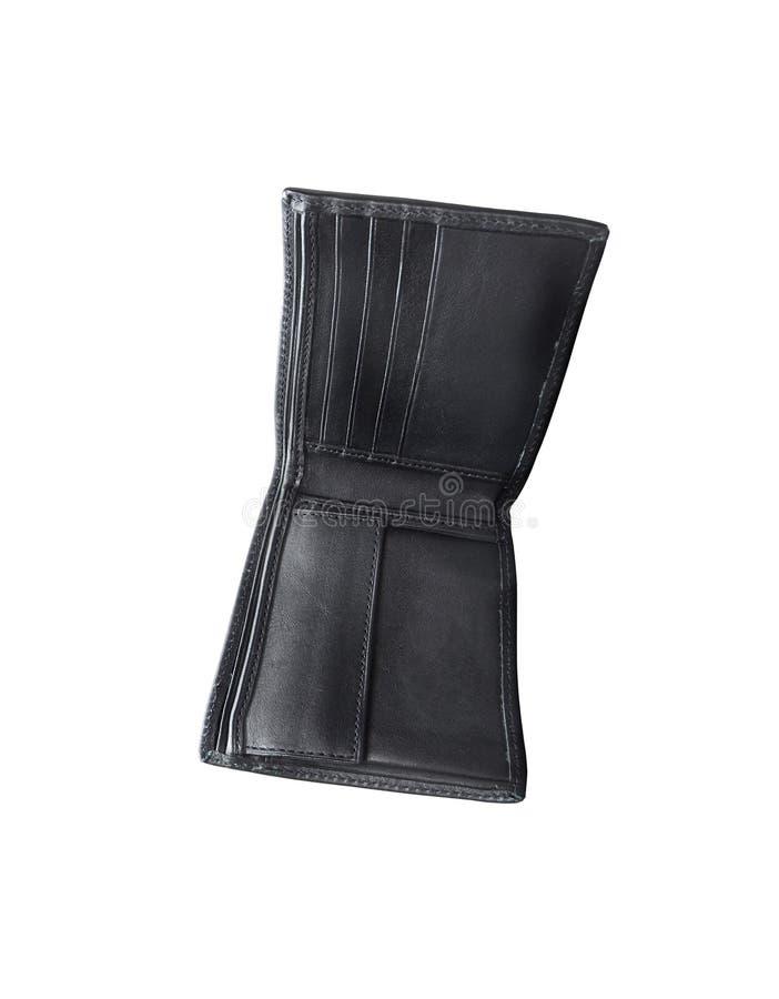 Öppna den svarta plånboken som isoleras på vit arkivfoto