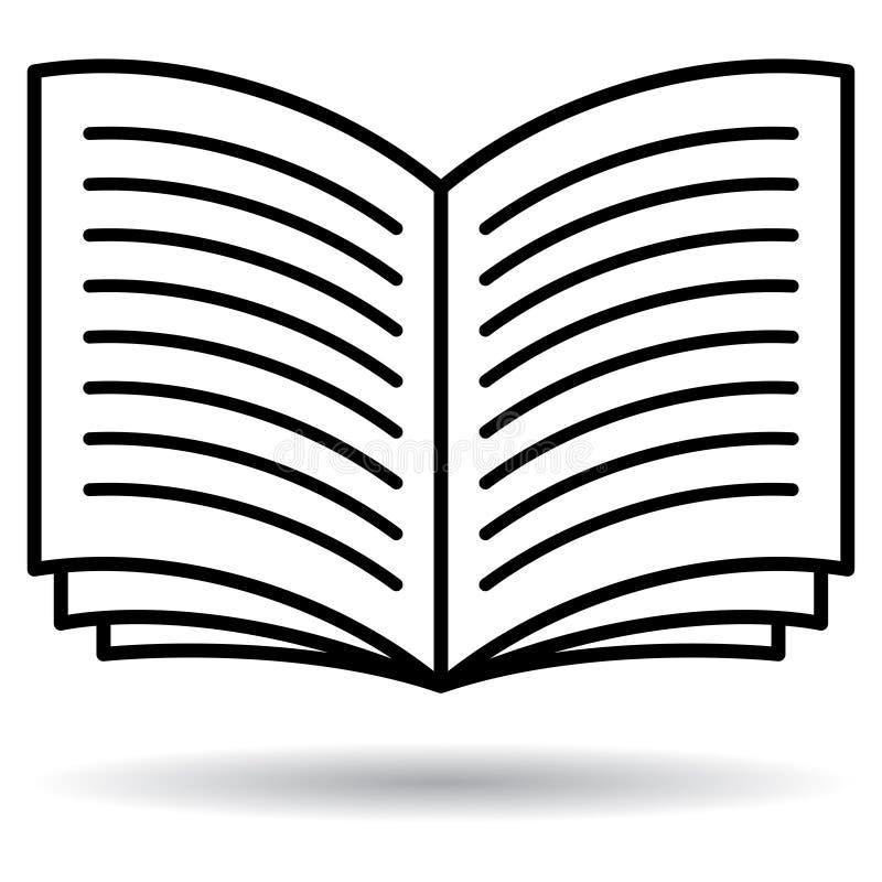 Öppna den svartvita symbolen för boken vektor illustrationer