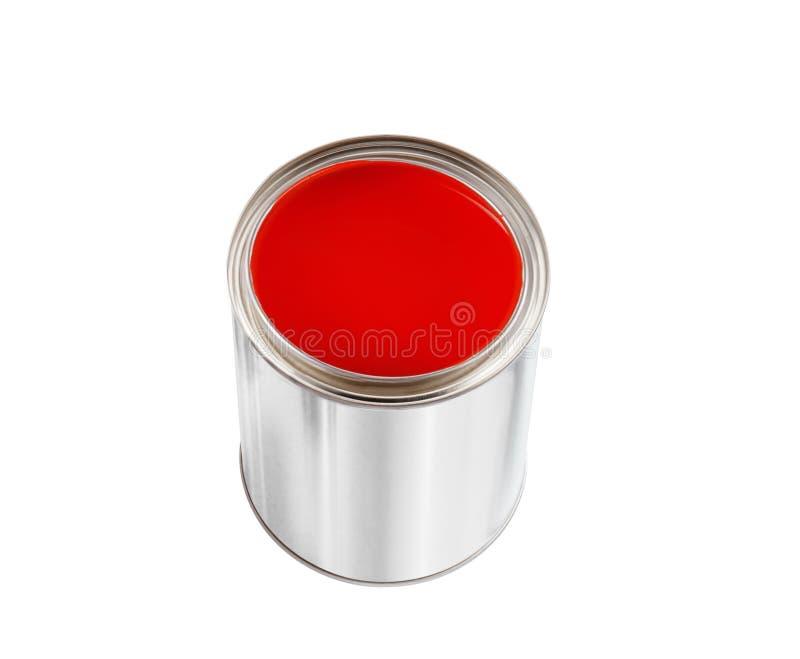 Öppna den tenn- canen med röd målarfärg som isoleras på vit royaltyfri bild
