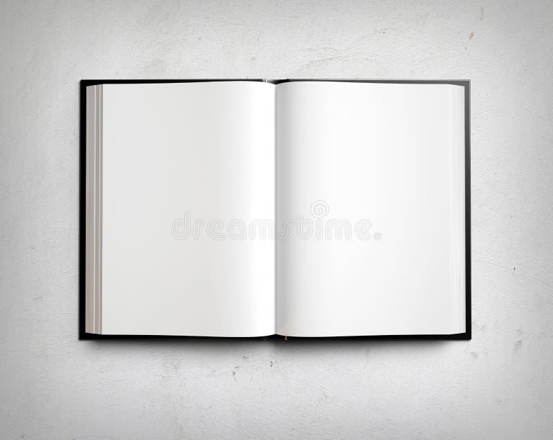 Öppna den tomma läroboken på den vita stuckaturväggen stock illustrationer