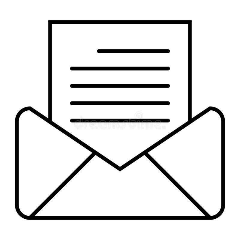 Öppna den tunna linjen symbol för post Bokstav med kuvertvektorillustrationen som isoleras på vit Design för postöversiktsstil royaltyfri illustrationer