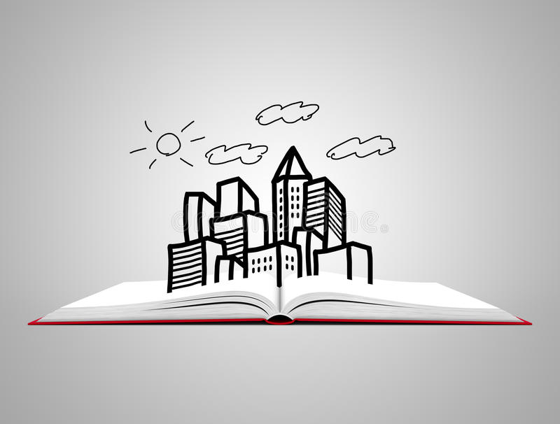 Öppna den vita boken med skissar av stad royaltyfri illustrationer