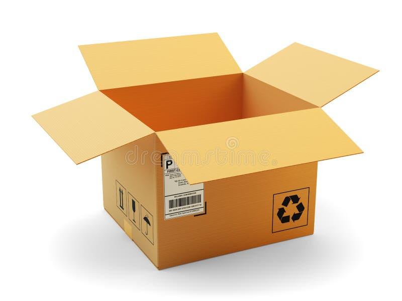 Öppna det symbols-, leverans-, trans.- och förpackabegreppet för packe stock illustrationer
