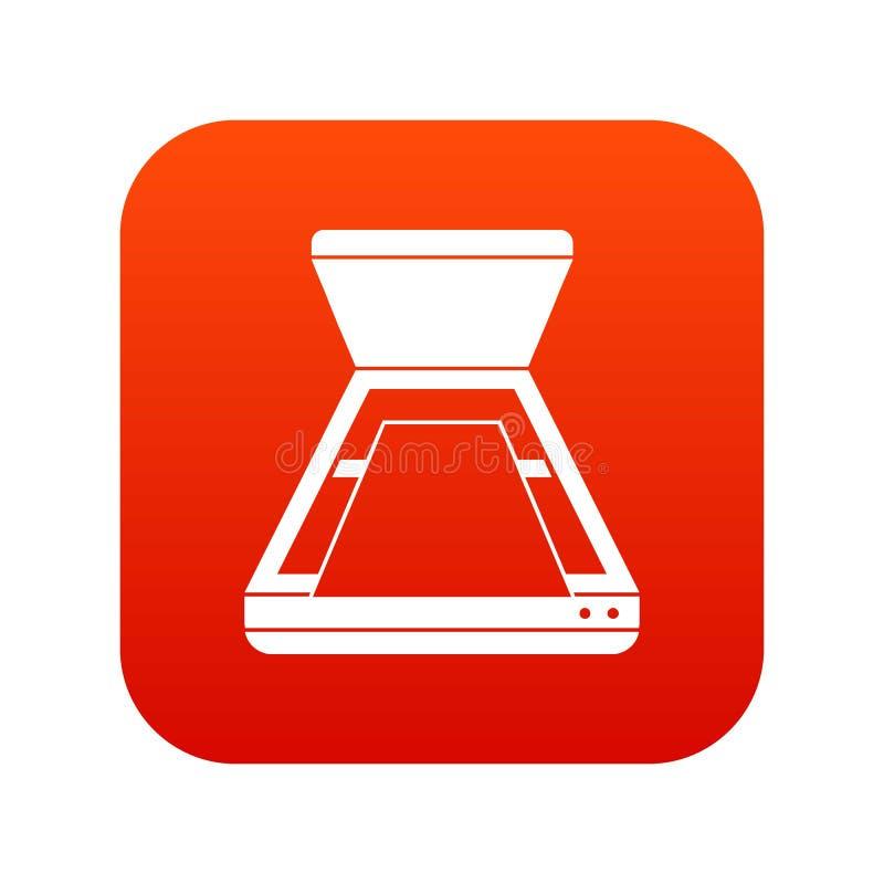 Öppna digitalt rött för bildläsarsymbol stock illustrationer
