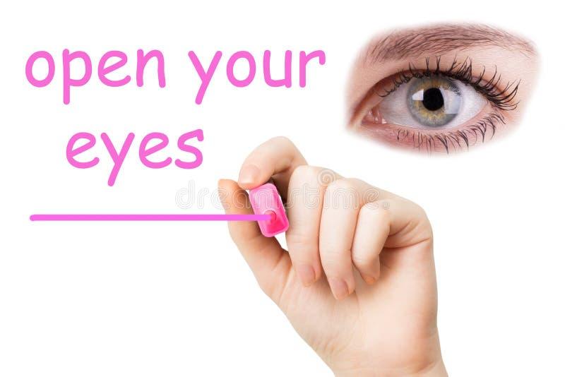Öppna dina ögon, rosa markör arkivfoto