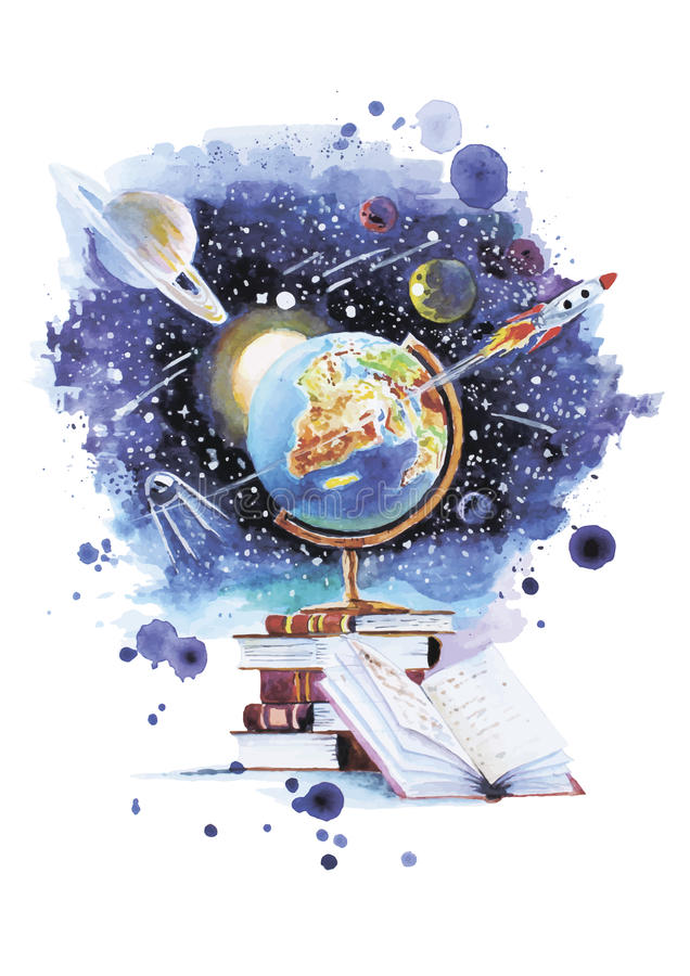 Öppna ditt universum royaltyfri illustrationer