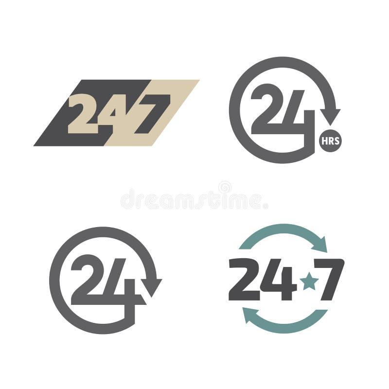 Öppna dygnet runt 24 timmar 7 dagar en veckasymbolsuppsättning stock illustrationer