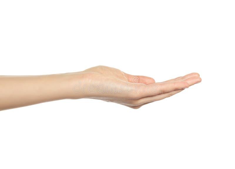 Öppna en kvinnas hand, gömma i handflatan upp royaltyfria foton