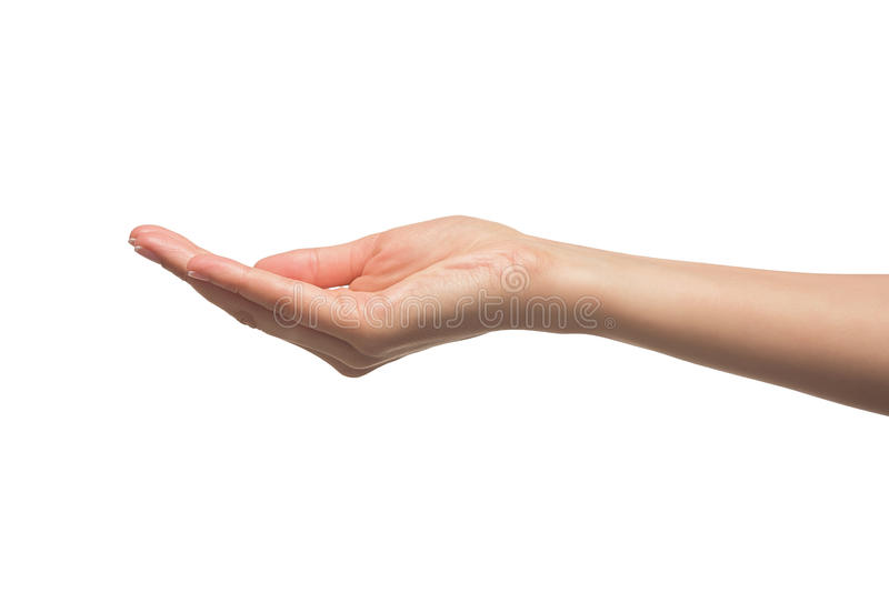 Öppna en kvinnas hand, gömma i handflatan upp arkivbild
