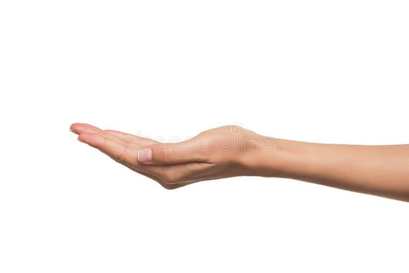 Öppna en kvinnas hand, gömma i handflatan upp arkivfoton