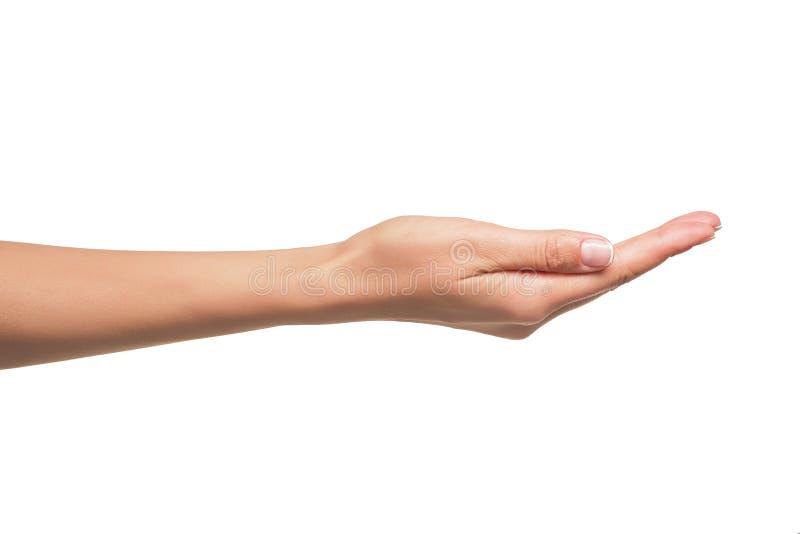 Öppna en kvinnas hand, gömma i handflatan upp arkivfoto