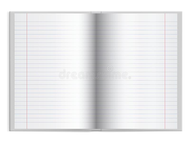 Öppna en schoolbook med fodrat papper i hardcover med utrymme för t stock illustrationer