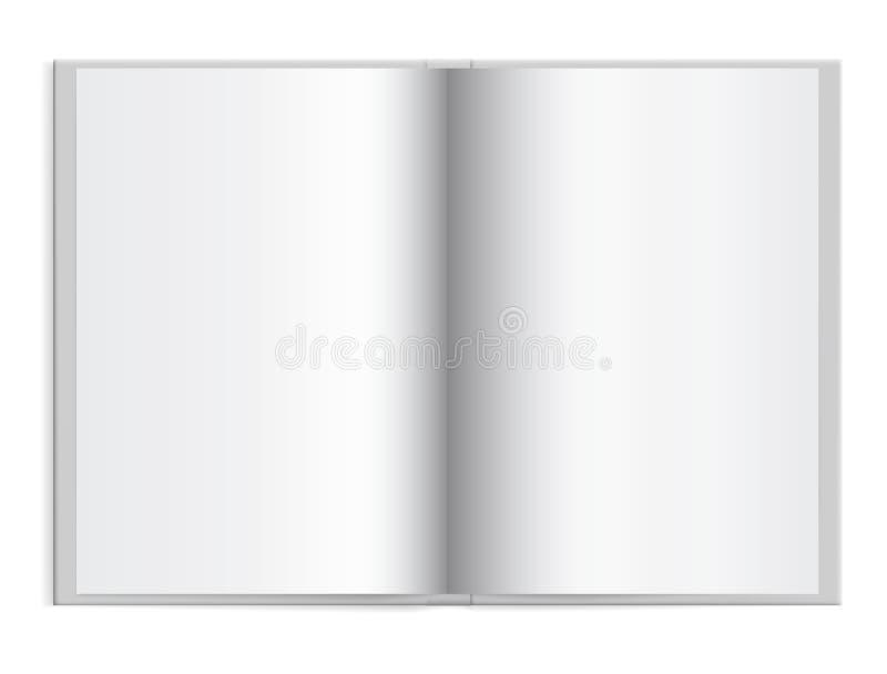 Öppna en schoolbook med tomt papper i den vita hardcoveren med utrymme stock illustrationer