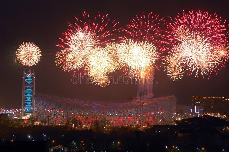 öppna för olympiska spel för viktig för beijing ceremfyrverkerier royaltyfria foton