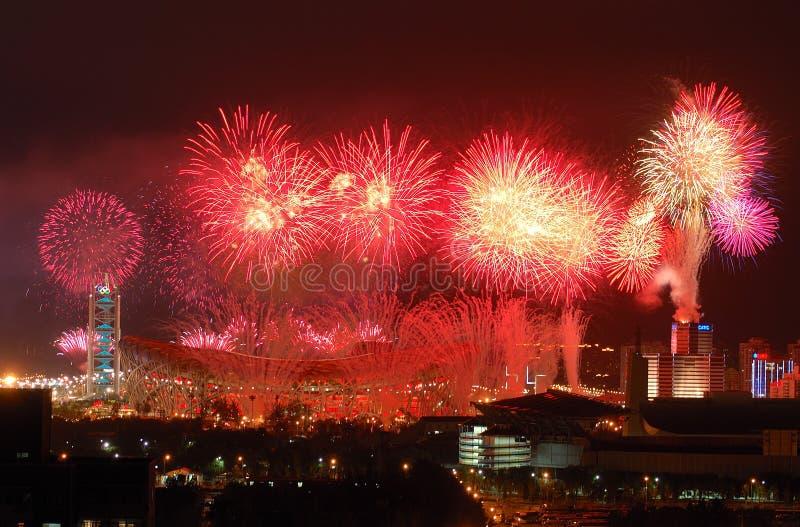 öppna för olympiska spel för viktig för beijing ceremfyrverkerier royaltyfri fotografi