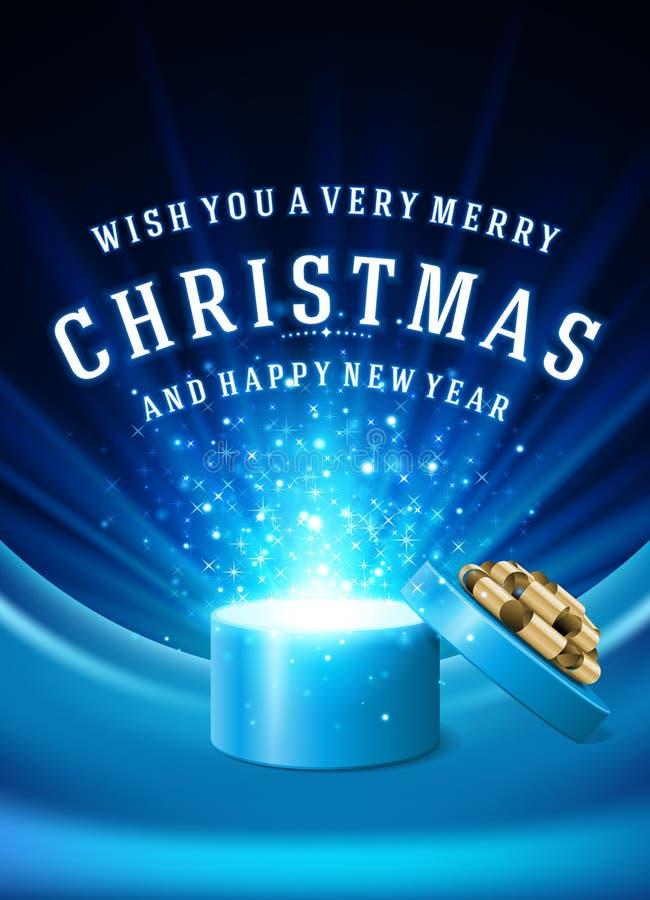 Öppna fyrverkerier och jul för gåvaask magiska ljusa vektor illustrationer