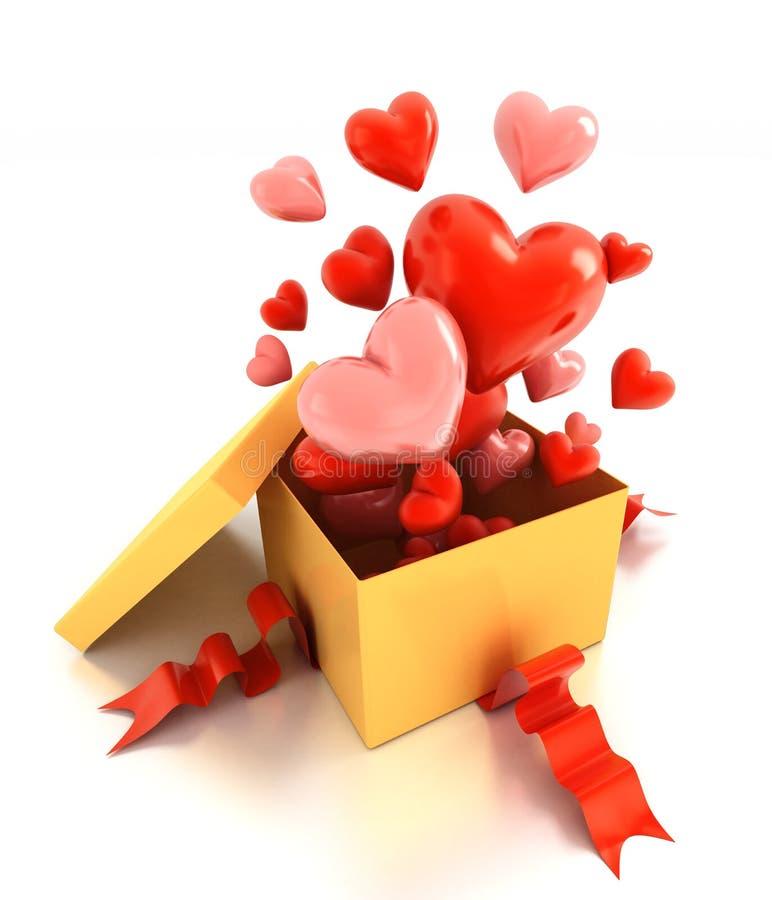 Öppna gåvaasken med hjärtor royaltyfria foton
