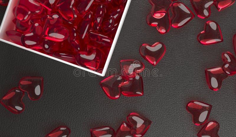 Öppna gåvaasken mycket av röda Glass hjärtor royaltyfria foton
