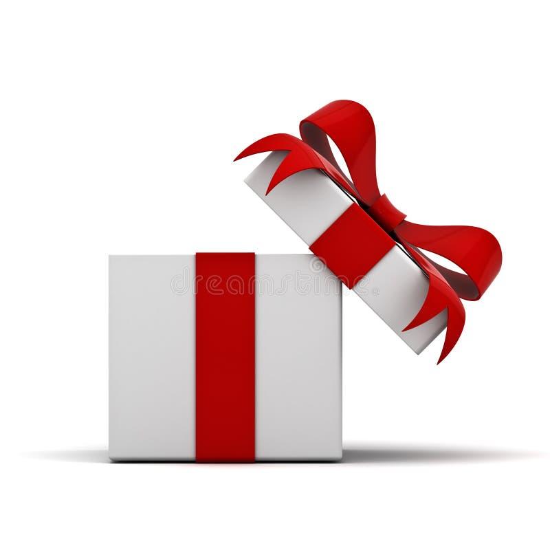 Öppna gåvaasken och framlägga asken med den röda bandpilbågen som isoleras på vit bakgrund royaltyfri illustrationer