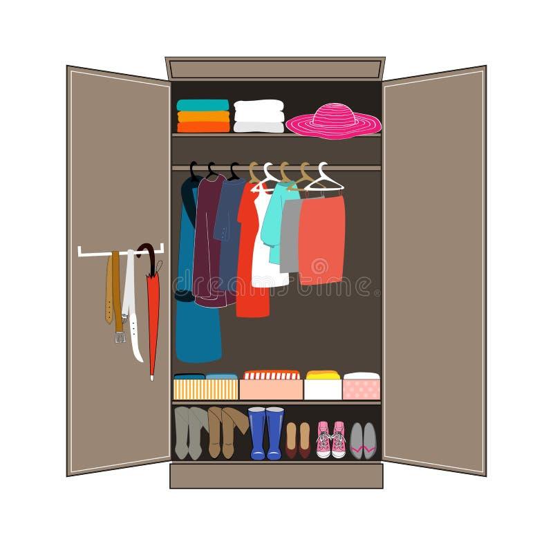 Öppna garderoben med rumsren kläder planlagd strömförande retro lokalstil för hemmiljö Plan designvektorillustration stock illustrationer