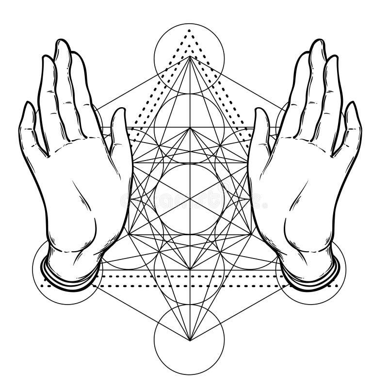 Öppna händer över sakral geometri, Metatrons kub, blomma av liv royaltyfri illustrationer