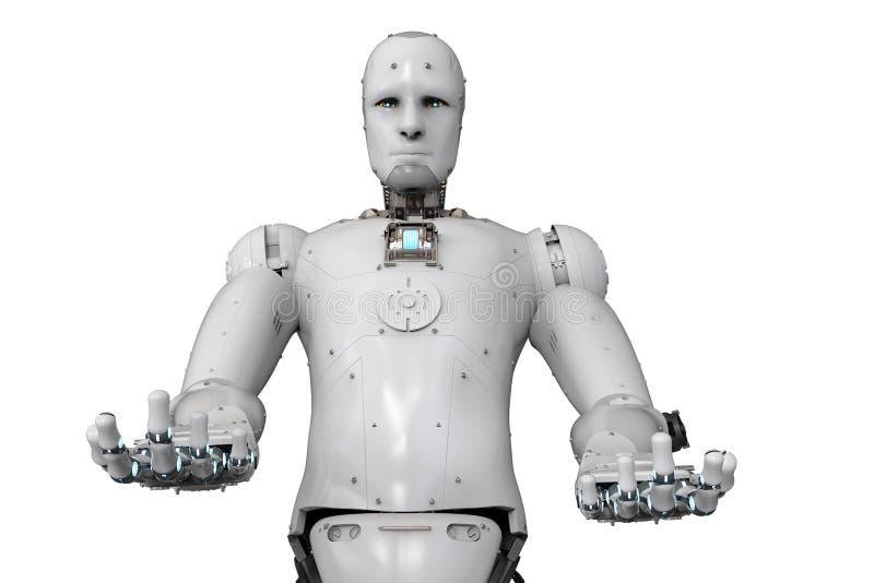 Öppna händer för robot royaltyfri illustrationer