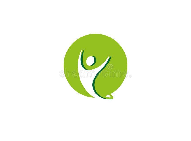 Öppna händer för sund person inom en grön cirkellogo royaltyfri illustrationer