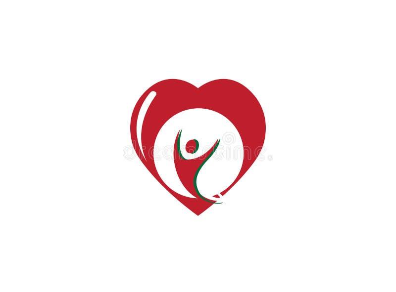 Öppna händer för sund person inom en hjärta för logo vektor illustrationer