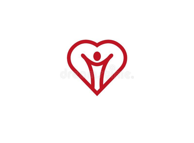 Öppna händer för sund person inom en hjärtalogo stock illustrationer