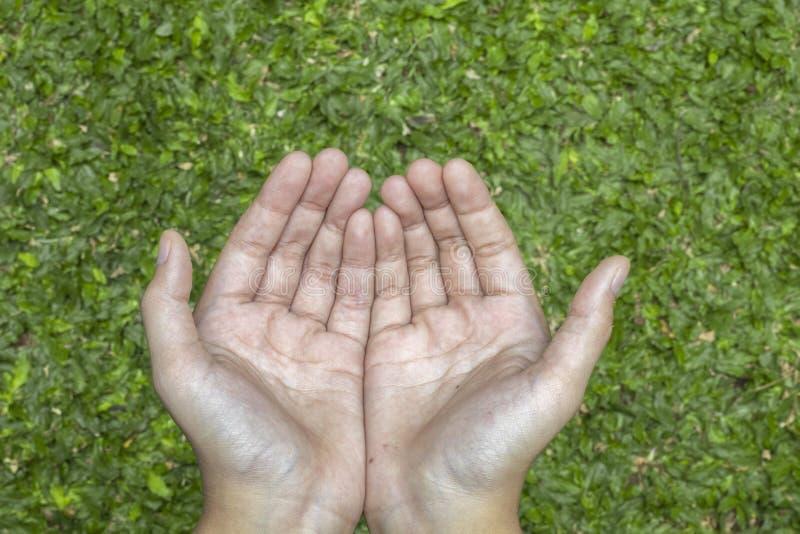 Öppna händer, kapitulation till guden arkivbild